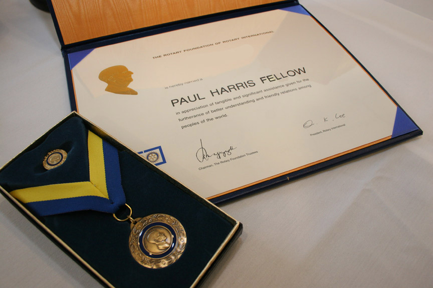 Paul Harris Fellow Certificate Pin Ribbon
